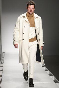 Model Sean O'Pry wearing Nautica Sail Cream Wool Admiral Coat, Camel Mohair Merino Horizon Turtleneck, and Sail Cream Twill Officer Pant at the Nautica Fall 2016 Shoppable Runway Collection at Skylight Modern during CFDA's New York Fashion Week Men #NYFWM