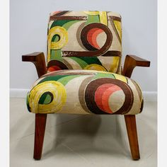 50s Barkcloth Lounge Chair