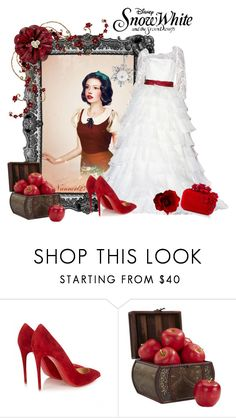 """""""Snow White..."""" by nannerl27forever ❤ liked on Polyvore featuring Disney, Christian Louboutin, Nearly Natural, Jimmy Choo and Bling Jewelry"""