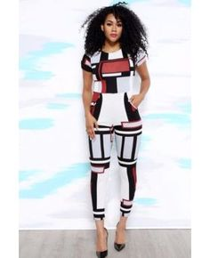 58fce9ad2254 New Fall Fashion Printing Sexy Jumpsuits Overalls Fashion
