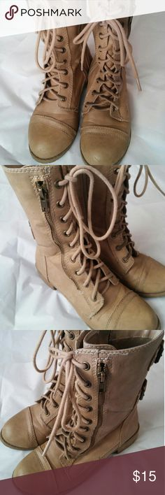 Tan combat boots These boots are in great condition, zippers work and the buckles look good. Not many visible scuffs, as these were not worn much. Shoes Combat & Moto Boots