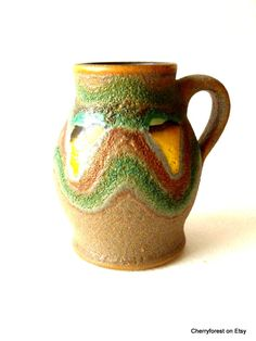 Vintage East German Haldensleben-VEB ceramic tankard/vase 4110, Lava glaze, by Cherryforest on Etsy