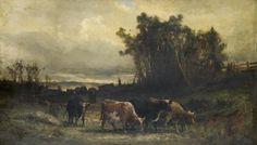 """Untitled (Cow Herd in Pasture), Edward Mitchell Bannister, 1877, oil on linen canvas, 28 x 48"""", private collection."""