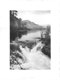 Photograph Snapshot Vintage Black and White: River Rapids Shore 1940's