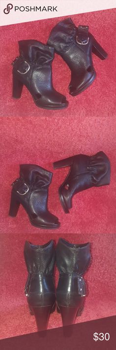 Gianni Bini Leather Boots Good condition. Please check last pic, there is a small defect on the boot. Gianni Bini Shoes Ankle Boots & Booties
