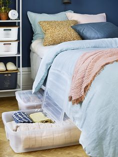 SmartStore Bedroller saves space and maximizes the storage space under the bed.