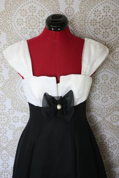 Vintage 1980's Black and White Polka Cocktail Dress by pursuingandie, $44.00