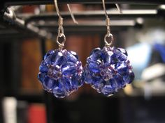 Czech crystals, Japanese glass beads & sterling silver earrings
