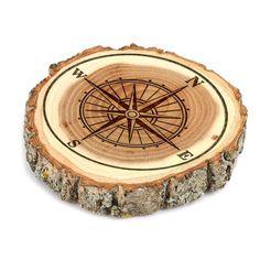 Compass Design Tree Bark Coasters,