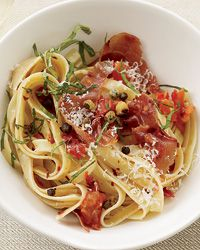 linguine with tomatoes and crispy capers.  Mainly use as guide for crispy capers, those are heavenly.  Would be divine with chicken piccata, on caesar salad, asparagus, with prosciutto...