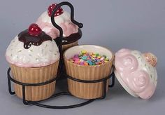 """As props for my cake plate stand/LL - """"Eat Cake"""" 3 Cup Cake Bowls with Metal Stand by Popular Creations, Cupcake Kitchen Theme, Kitchen Themes, Cupcake Cookie Jar, Cupcake Crafts, Bakery Kitchen, Cupcake Collection, Cupcake Shops, Love Cupcakes, Cute Kitchen"""