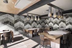 Upgrade Custom Commercial Wallcovering  #chevron #digitalwallcovering #mural #customwallcovering