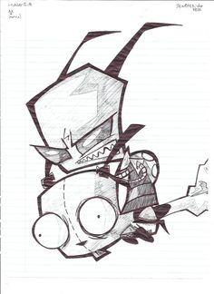 Invader Zim BnW drawing by ~Marimokun on deviantART