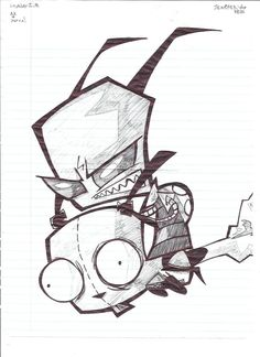 Invader Zim BnW drawing by ~Marimokun on deviantART