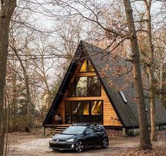 I love the color on this Tiny House Cabin, Tiny House Design, Cabin Homes, Log Homes, Tiny Homes, A Frame House Plans, A Frame Cabin, Haus Am See, Cabin In The Woods