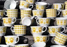 Arabia Finland yellow vintage coffee cups (Retikka, Pop..)