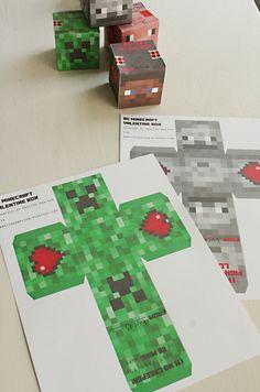 Minecraft Valentine cube box via Darling Darleen Valentine Day Boxes, Valentines For Boys, Valentines Day Party, Valentine Day Crafts, Valentine Ideas, Printable Valentine, Homemade Valentines, Valentine Wreath, Diy Valentine's Box