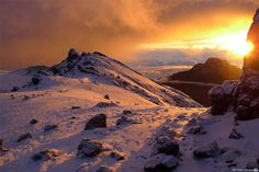 A picture of the sunrise taken from high on Mount Kilimanjaro.