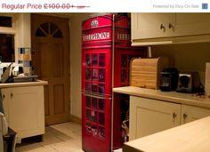 SUMMER SALE 20 OFF Red Uk Telephone Box Vinyl by VinylRevolution,  refrigerator wrap