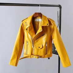 56245471cf19 2016 New Autumn Fashion Street Women's Short Washed PU Leather Jacket  Zipper Bright Colors New Ladies Basic Jackets Good Quality-in Leather &  Suede from ...