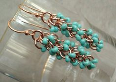 Raw Copper Earrings Turquoise Beads Shaggy Loops by cutterstone, $21.00