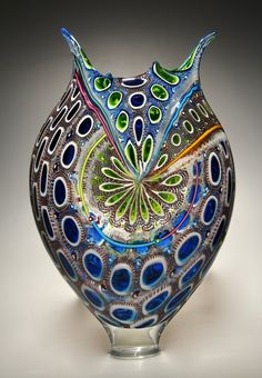 Cerulean, Lime, and Purple Foglio: David Patchen: Art Glass Vessel Murano Glass, Fused Glass, Stained Glass, Vase Deco, Corning Museum Of Glass, Blown Glass Art, Glass Vessel, Glass Design, Sculpture Art