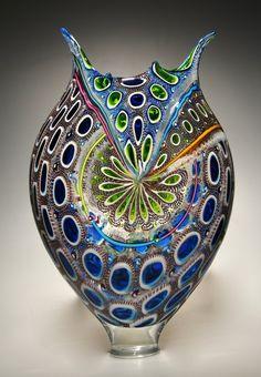 Cerulean, Lime, and Purple Foglio: David Patchen: Art Glass Vessel Murano Glass, Fused Glass, Decoration, Art Decor, Vase Deco, Corning Museum Of Glass, Blown Glass Art, Glass Vessel, Stained Glass Windows
