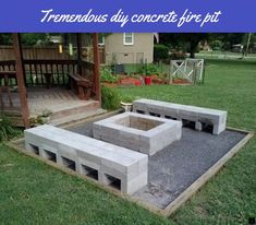 Fire pit and benches. Retaining wall block glue to set - Cinder Blocks - Fire pit and benches. Retaining wall block glue to set 481 - Paver Fire Pit, Cinder Block Fire Pit, Concrete Fire Pits, Diy Fire Pit, Fire Pit Backyard, Diy Concrete, Cinder Block Bench, Patio Fire Pits, Cinder Block Ideas