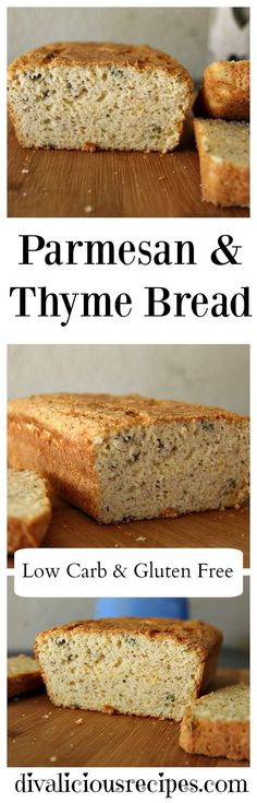 This Parmesan bread with thyme is baked with coconut flour and psyllium husk powder. A low carb and gluten free bread that is delicious sliced. Recipe: http://divaliciousrecipes.com/2017/02/19/low-carb-parmesan-thyme-bread/