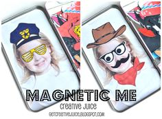 {TUTORIAL}  MAGNETIC ME! -- a magnet game for your kids using FREE photobooth props! easy, cheap, and awesome!