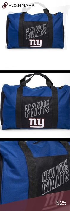 "NFL gym Duffle Bag New York Giants NY NEW L 18"" this new york giants® duffel bag is perfect as a tote bag, gym bag, grocery bag or tailgate supplies  Large size NFL Giants bag!  rep ur team in style with this cool merch. zipper closure, 2 sturdy handles, pocket in front color: blue with black details & new york giants® logo size: 18in (L) x 12in (H) x 8in (W) brand: northwest™ / nfl® / ny giants®  Still has tags Also have a backpack listed under women's backpacks NFL Bags Duffel Bags"