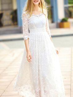 #AdoreWe StyleWe Maxi Dresses - JIANSHAN White Embroidered Elegant Swing Party Dress - AdoreWe.com