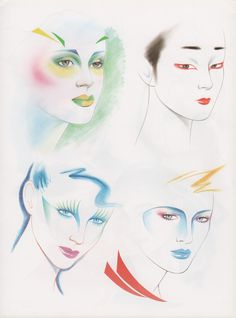 "palmandlaser: "" Kojiro Kumagai From Illustration for Hair and Makeup "" Retro Kunst, Retro Art, Makeup Drawing, Makeup Art, Art And Illustration, 1980s Art, Retro Makeup, Drag, Airbrush Art"