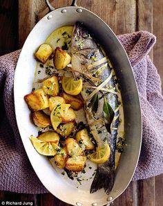 Whole roasted sea bass with lemon salt and potatoes