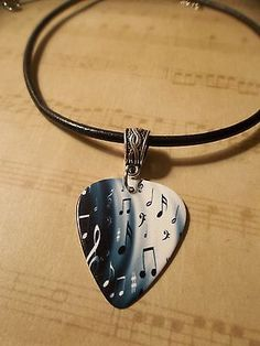 2 Options Double Sided Musical Paper Guitar Pick Necklace, Made in USA!
