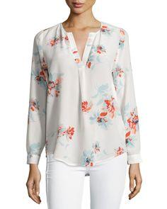 Joie Deon B Tossed Bouquet Silk Blouse, Porcelain w/ Live Coral, Women's, Size: L