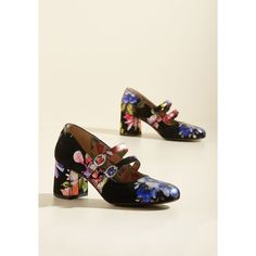 Miss L Fire Statement Peerless Personality Suede Heel (220 AUD) ❤ liked on Polyvore featuring shoes, pumps, black pumps, black mary jane shoes, metallic pumps, black floral pumps and floral print pumps