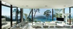 French Villa Living Room With View. Bayview Villa in Villefranche-sur-Mer, Côte d'Azur