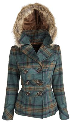 Dollhouse Womens Classic Wool Blend Dressy Winter Pea Coat with Detachable Hood at Amazon Women's Coats Shop