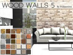 Wood Walls 5 by Pralinesims at TSR via Sims 4 Updates