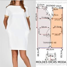 Vestido branco casual (Moldes Dicas Moda) - Matter Tutorial and Ideas Belted Shirt Dress, Tee Dress, Sewing Clothes, Diy Clothes, Costura Fashion, Dress Sewing Patterns, Clothing Patterns, Fashion Sewing, Moda Fashion