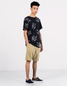 Pull&Bear - hombre - camisetas y polos - camiseta print all over flores - marino - 05239588-V2016