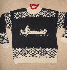 Lauren Ralph Lauren Sweater Hand Knit Vintage Fisherman Canoe sz M linen cotton