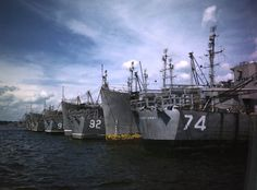 "Naval Ships ""moth balled"" at the Green Cove Springs. 