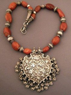 Necklace of Ancient Pema Raka and Antique Indian Silver #ethnicjewelry
