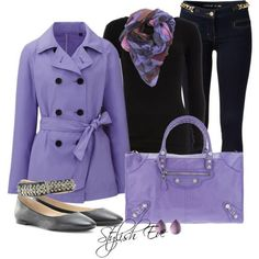 Fashion: Women's apparel purple... I would go with a different color shirt, maybe a light color or white.....