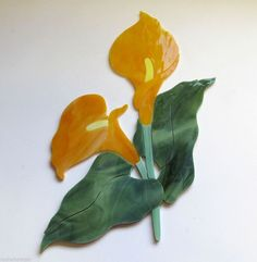 CALLA LILY FLOWER Precut Stained Glass Art Kit Mosaic Inlay. Many original designs selling on ebay.