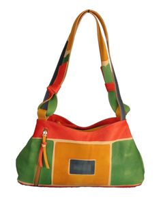 Astore Hand Painted Leather Geometric Shoulder Bag