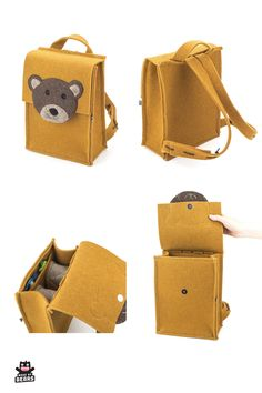 Cute yellow backpack for girls and boys. Backpack with a bear for school, kindergarten, preschool . Yellow Backpack, Diy Backpack, Toddler Backpack, Trendy Backpacks, Animal Backpacks, Boys Backpacks, Preschool Backpack, Back Bag, Kids Sunglasses