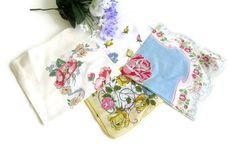 Vintage Hankie Collection Cotton Floral by WeeLambieVintage